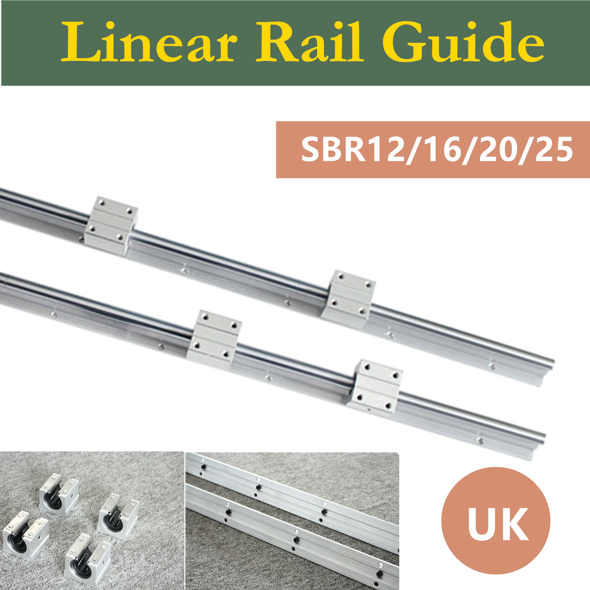 UK Shipping 2Pcs SBR12/16/20/25 300-1500mm Linear Bearing Rail Slide Guide Shaft + 4Pcs SBR12UU/SBR16UU/SBR20UU/SBR25UU Blocks