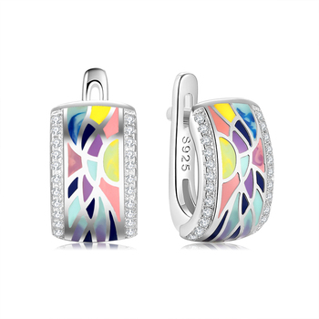 925 Silver Earring Colorful art painting Handmade Enamel Sparkling CZ Clip Earring For Women Wedding Gift Fine Europe Jewelry