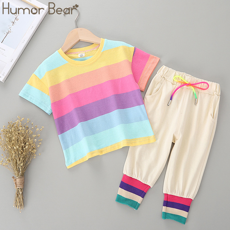 Humor Bear Girls Clothing Sets Summer Baby Kids Clothes Striped Short-Sleeved T-Shirt + Cropped Trousers 2PCS Children Clothing
