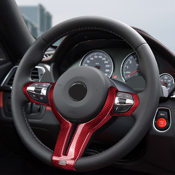Red Glass fiber Steering wheel trim cover Car interior Auto Parts For BMW M2 M3 M4 M5 M6 X5M X6M image