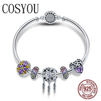 COSYOU 100% 925 Sterling Silver Dream Catcher Holder Heart Enamel Spacer Bracelets & Bangles for Women Silver Jewelry SCB809