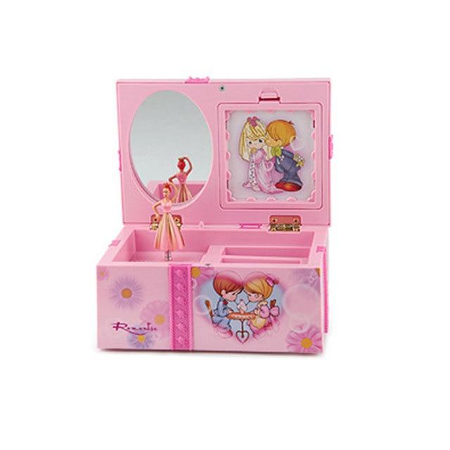 Dream Girl Music Box Childrens Musical Jewellery Box Rectangle with Pink Ballerina Alice in Wonderland music