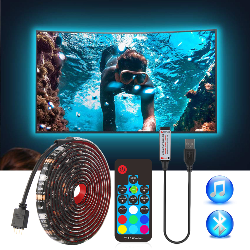 USB LED Strip 5050 RGB TV Background Lighting Kit Cuttable With IR RF Music Bluetooth RGB LED Controller, 0.5M/1M/2M Set