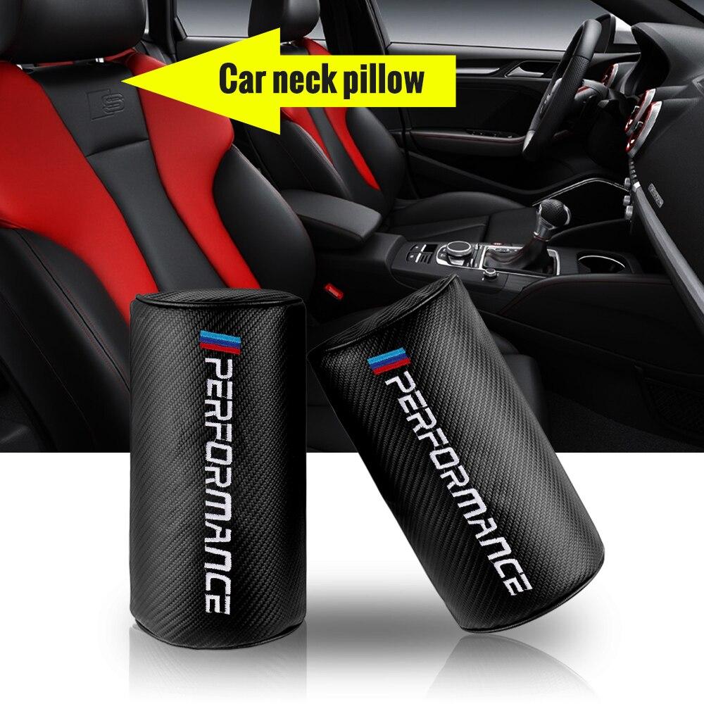 Carro de fibra carbono couro encosto cabeça pescoço almofada travesseiro segurança para bmw x1 x3 x5 x6 e46 e39 e90 e36 e60 e34 e30 acessórios do carro estilo