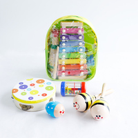 14PCS Baby Toy Musical Instrument Kit Infants Wooden instruments Set Children Drum Harmonica Toys Kids Early Education M