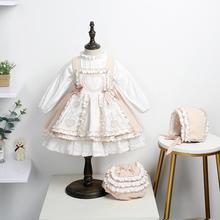 3 предмета, винтажное испанское платье для маленьких девочек Детские платья принцессы в стиле королевской Лолиты осенние платья для малень...