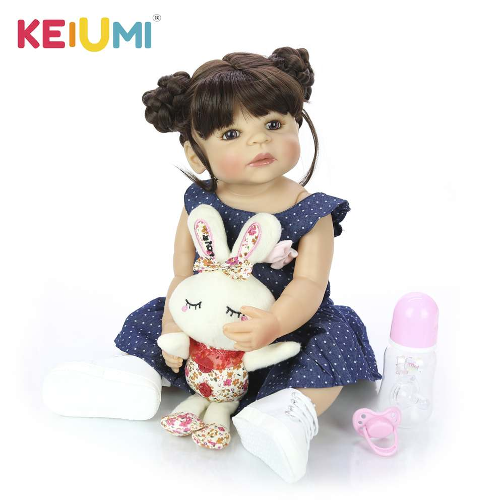 New 22 Inch All Silicone Body Reborn Girl Lifelike Baby Doll DIY Hair Newborn <font><b>Princess</b></font> <font><b>Toddler</b></font> Toy Waterproof Birthday Gift image