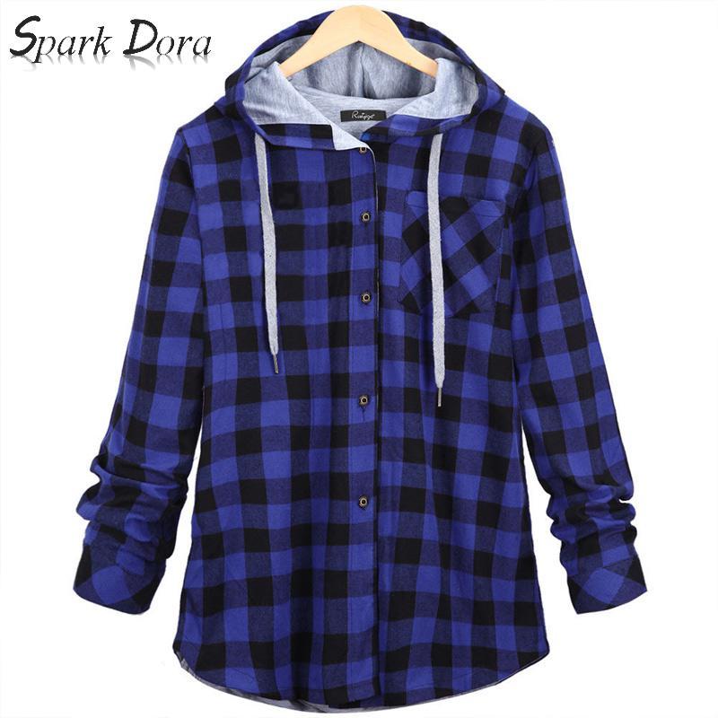 SparkDora 2019 Autumn Cotton Hoodies Women Coat Long Sleeve Plaid Sweatshirts Casual Hooded Female Plus Size Ins TikTok Fb 5XL