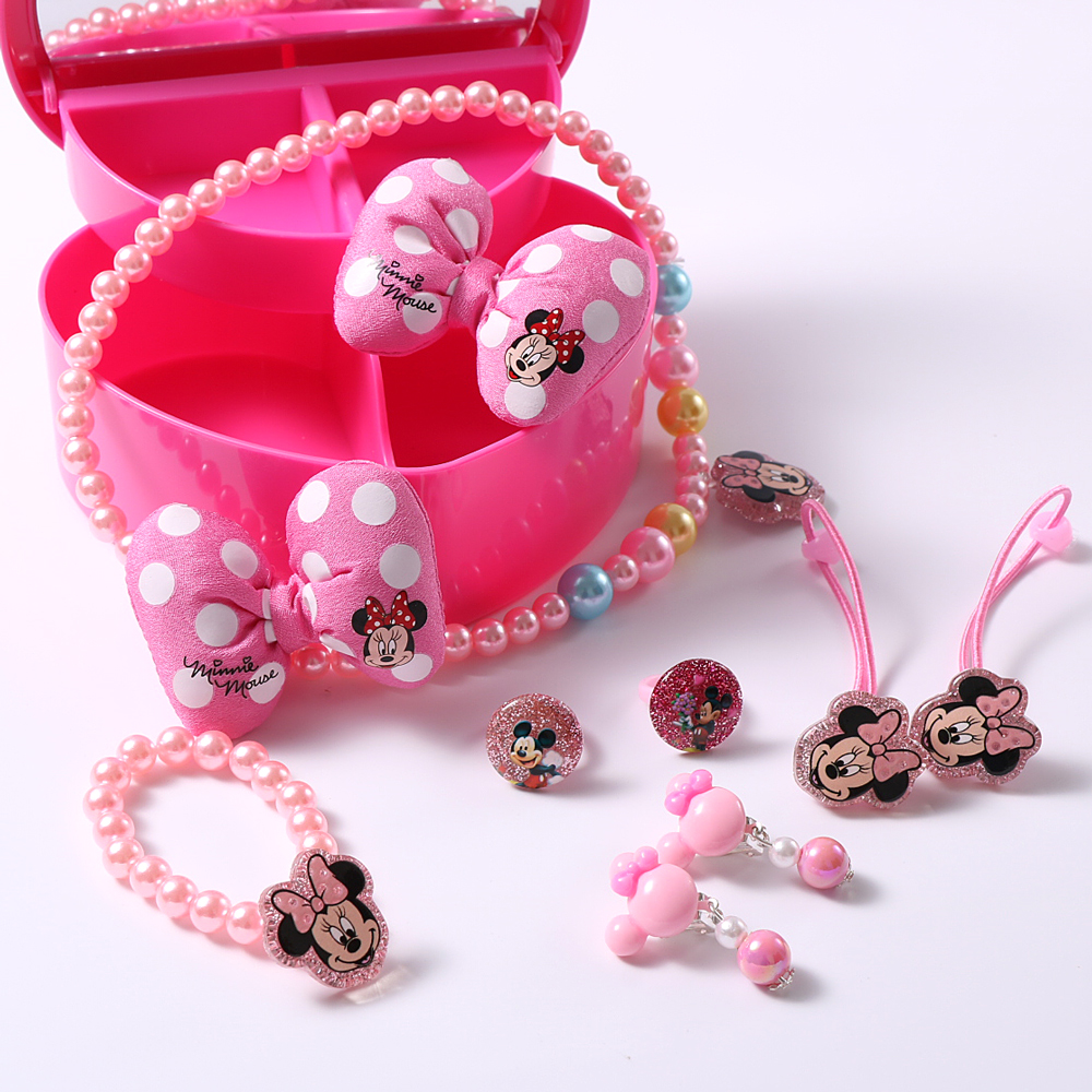 1set Child Jewelry Hello Kitty Hair Clips Hair Bands Girls Acrylic Necklace Finger Ear Rings Jewelry Accessories in Hair Accessories from Mother Kids