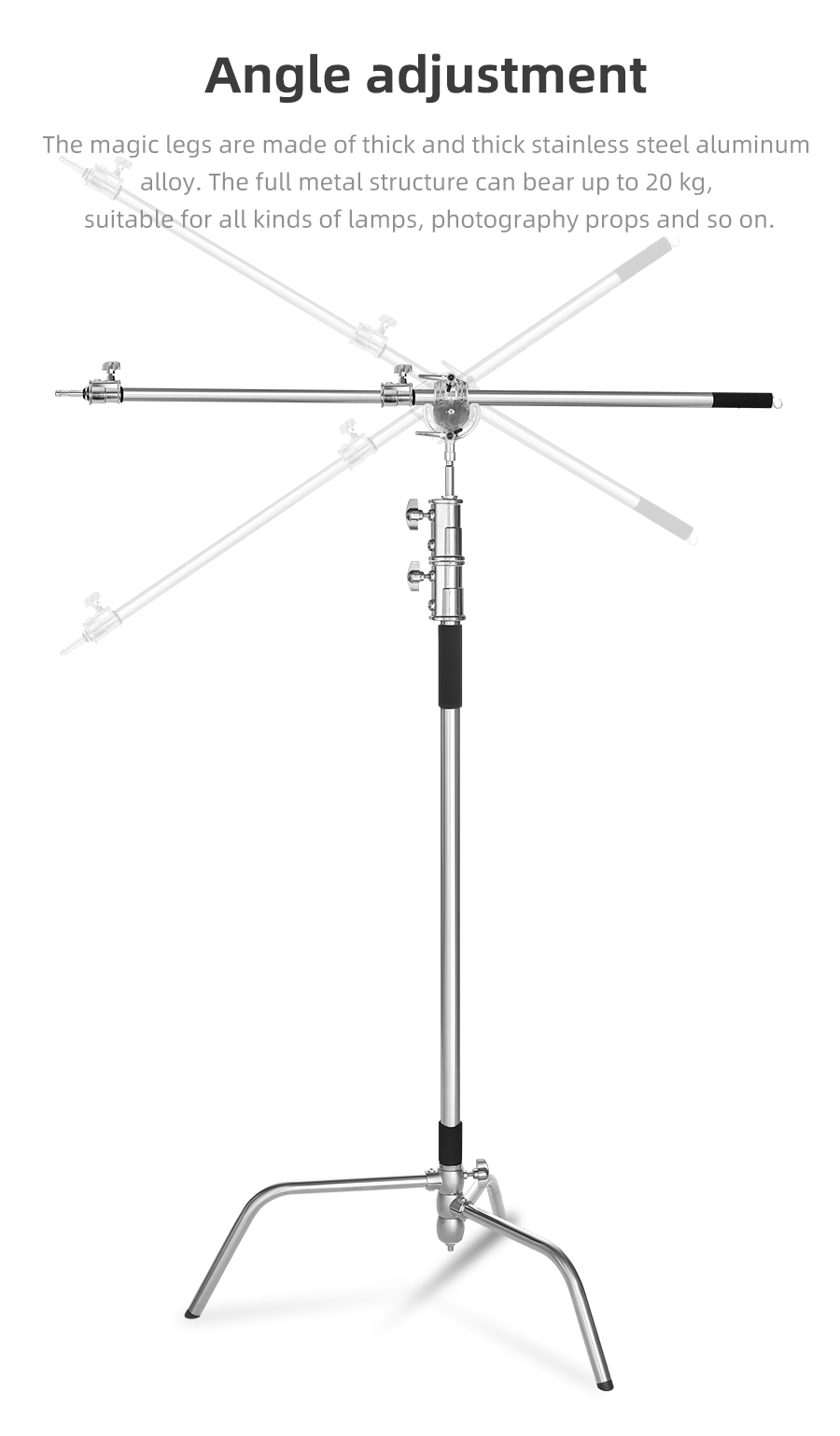 Metal Max Height 330cm Adjustable Reflector Stand with 95-230cm Holding Boom Arm for Photography Studio Video Flash, Monolight