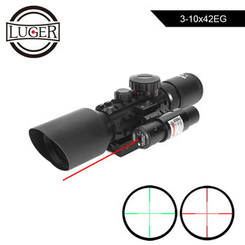 3-10x42EG Hunting Scope Tactical Optics Reflex Sight Riflescope Picatinny Weaver Mount Red Green Dot With Red Laser Rifle Scope discovery hunting riflescope vt z 4x32 short economy air rifle riflescope with free scope mount