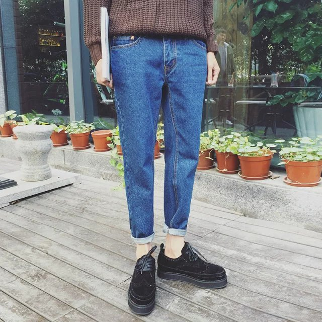 2017 Spring New Style MEN Micro Loose-Fit Jeans Teenager Korean-style Fashion Students Handsome Men'S Wear