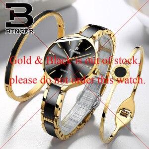 Image 2 - Switzerland Binger Ceramic Quartz Watch Women Casual Luxury Brand Wristwatches Gift Bracelet Relogio Feminino Montre Relogio