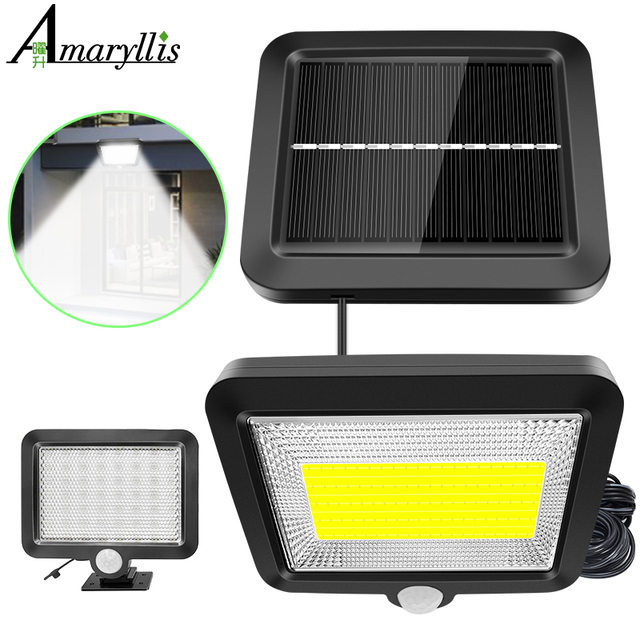 56 LED Solar Light Outdoor Indoor Garden Lights Waterproof PIR Motion Sensor Wall Lamp Separable Solar Lamp With Line