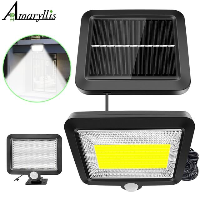 56 led ソーラーライト屋外屋内ガーデンライト防水 pir モーションセンサー壁ランプと分離可能なソーラーランプライン