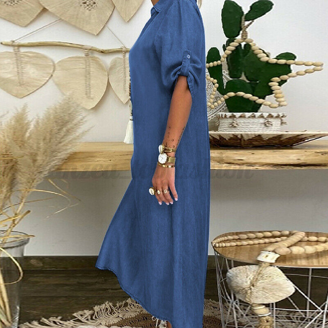 Summer Denim Dress For Women 2021 Casual Spring Blue  V-Neck Half Sleeve Maxi Dresses Plus Size Split Long Dresses Vestidos 5XL 4