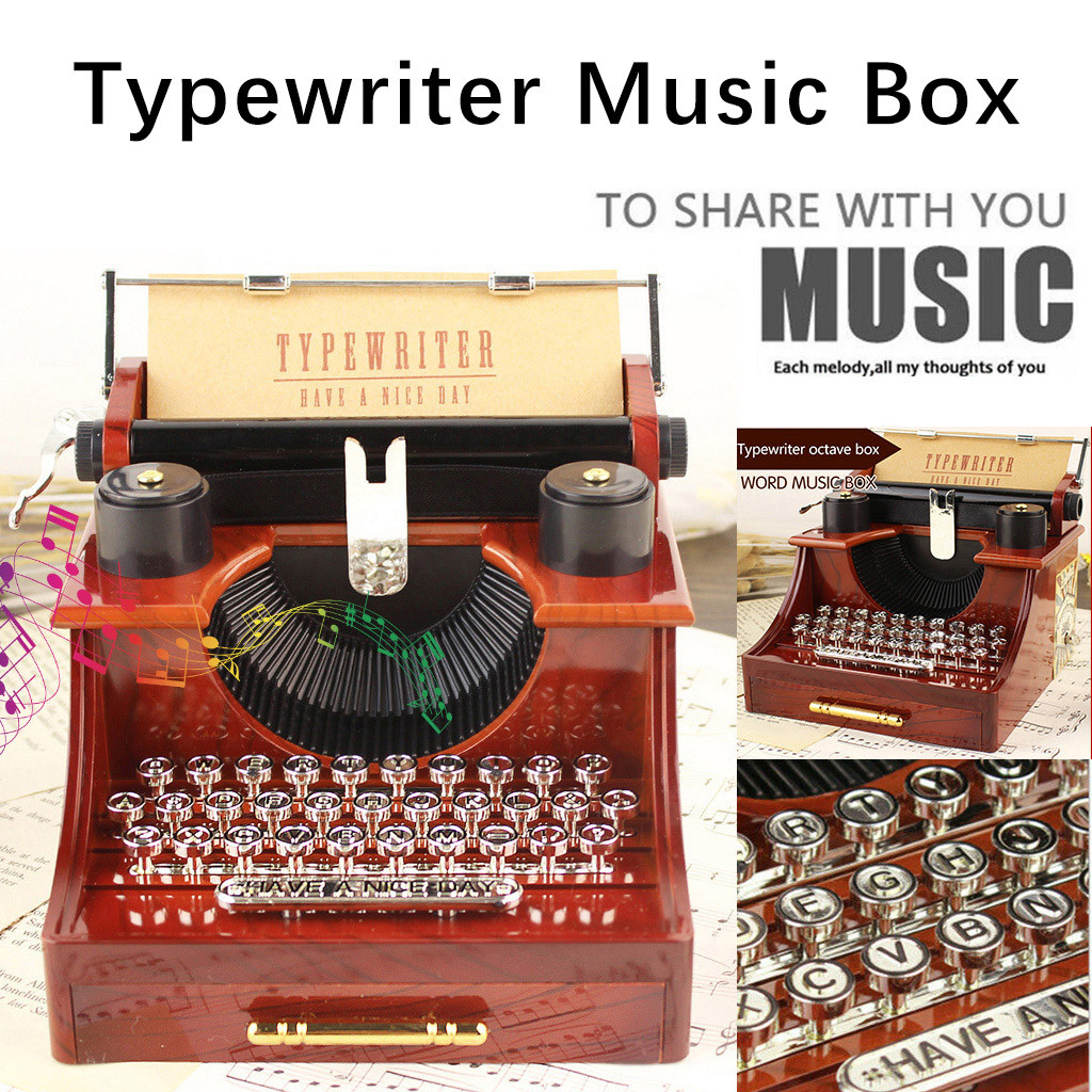 Creative Classic Typewriter Model Caja Music Box Wood Metal Antique Musical Boxes Birthday Wedding Gift Toy Decoration Music Box