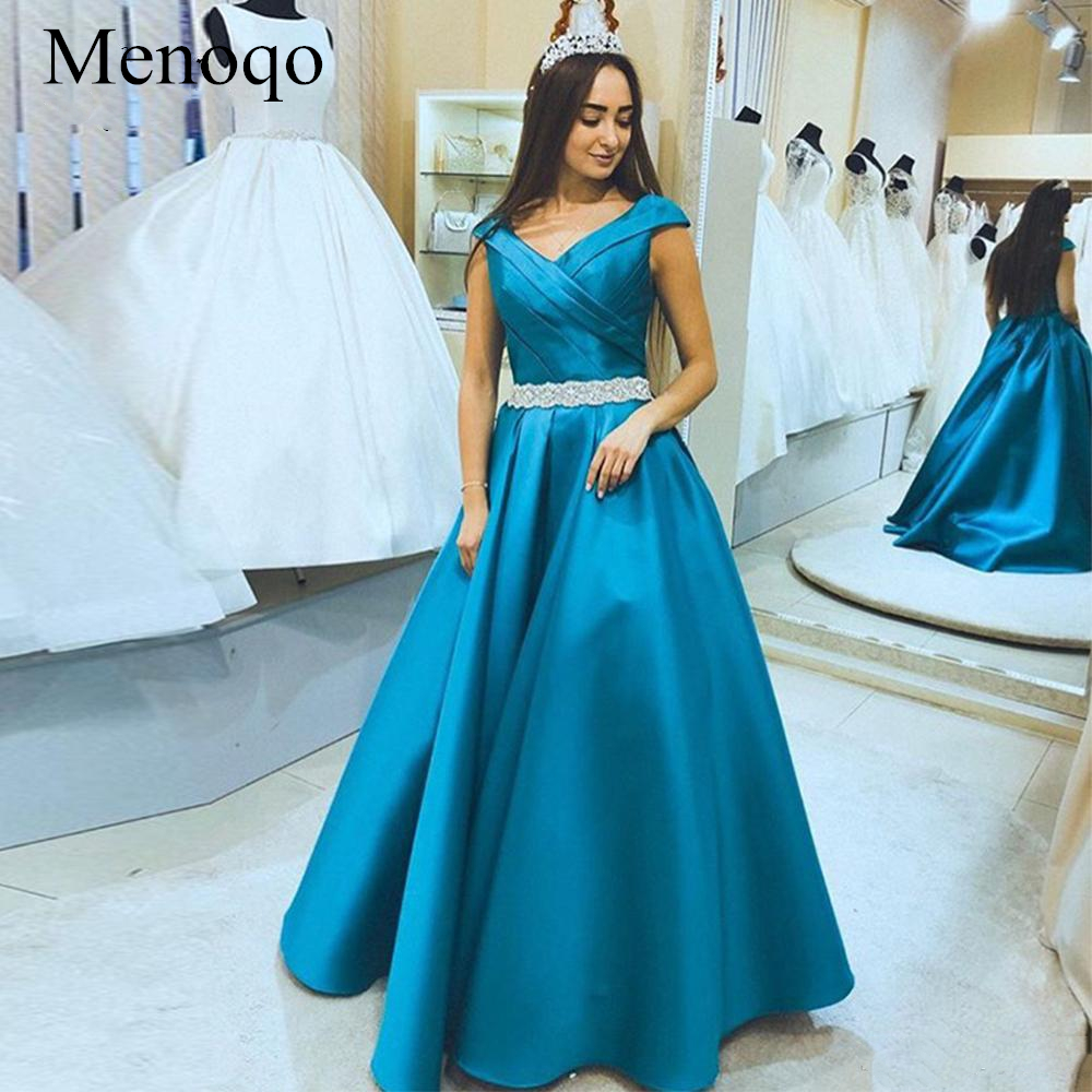 Menoqo A line V-Neck   Evening     Dresses   2019 Elegant Cap Sleeve Floor Length Satin Formal   Evening   Party Gowns P16JY25