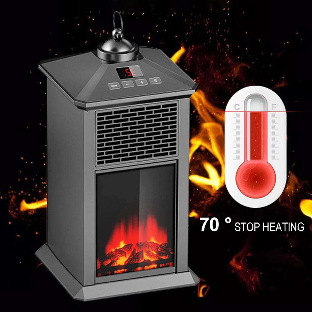 800W Portable Electric Fireplace Heater Warmer Winter Remote Control Adjustable Thermostat Heater Household Heating Machine