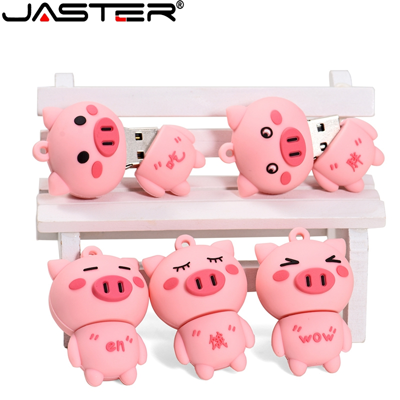 JASTER USB Flash Drive Cute Pig Pen Drive Pink USB Stick 4GB 8GB 16GB 32GB 64GB 128GB Memory U Disk Creative Gifts Pendrive
