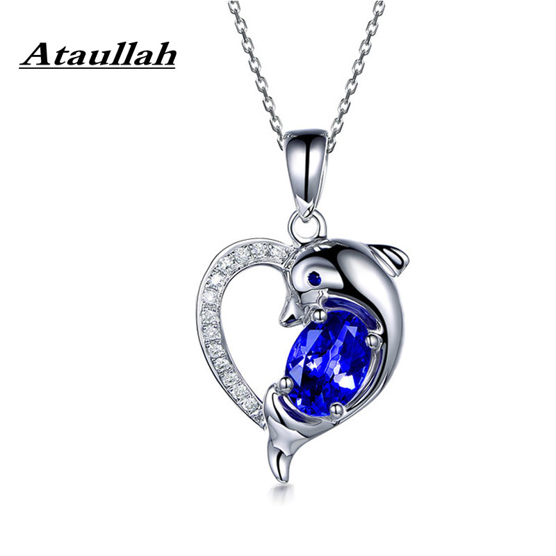 Ataullah Blue Natural Sapphire Necklaces 925 Sterling Silver Chain Cute Dolphin Pendants Necklace for Women Jewelry Gift NW097