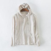 Casual manga longa masculina hoodies de linho com bolso canguru branco cáqui preto verão com capuz de linho moletom masculino minimalista