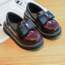 Детская кожаная обувь принцессы для девочек; Повседневная блестящая детская мягкая обувь для девочек с бантом-бабочкой; цвет черный, винно-красный; B678