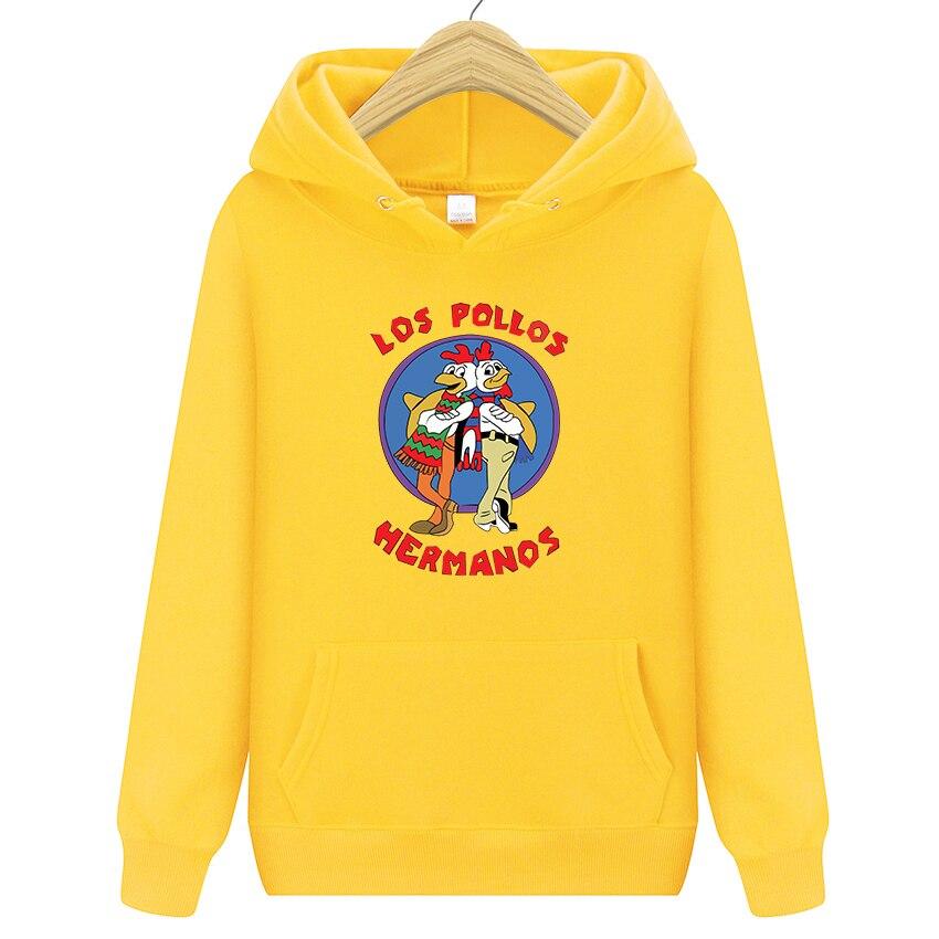 Autumn New Women/men's Casual Players  Los Pollos Hermanos Print Hedging Hooded Fleece Sweatshirt Hoodies Pullover 13 Colors