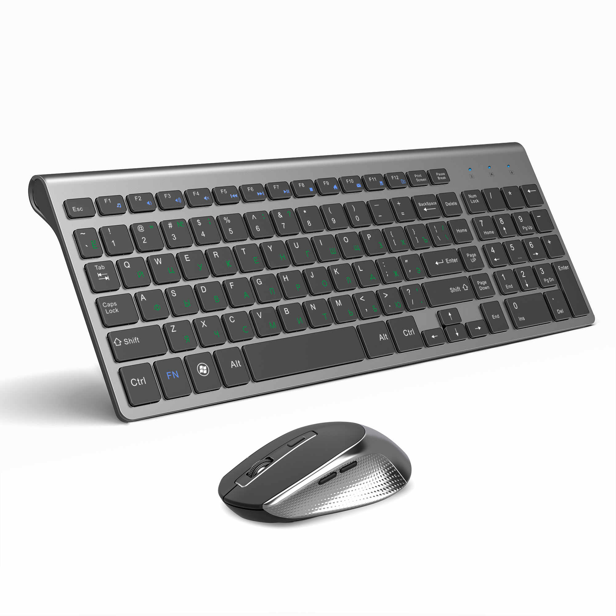 Joyaccess Russische Wireless Keyboard Muis Set Ergonomische Muis Pc Mause Stille Knop Toetsenbord En Muis Combo 2.4G Voor Laptop pc