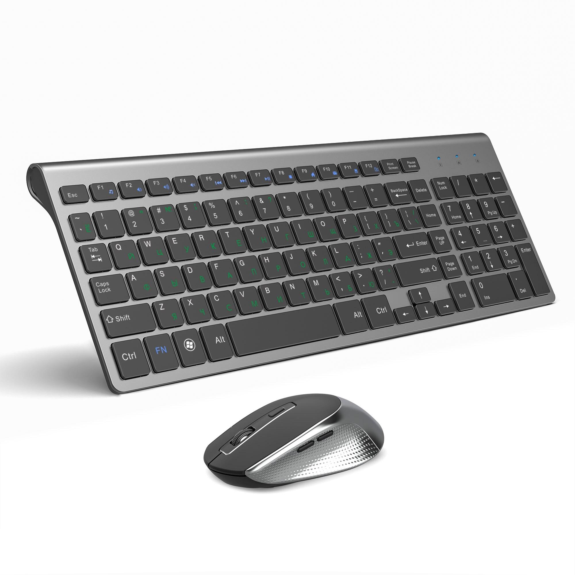 JOYACCESS รัสเซียคีย์บอร์ดไร้สายเมาส์เมาส์ PC เมาส์เงียบปุ่มคีย์บอร์ด 2.4G สำหรับแล็ปท็อป PC