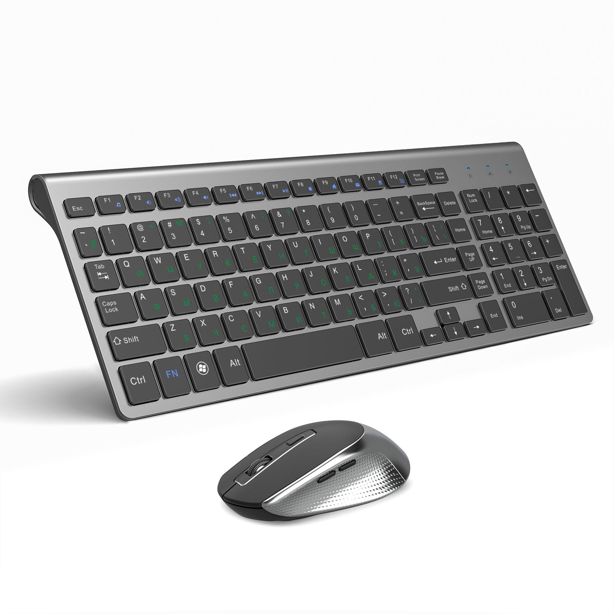 JOYACCESS русская Беспроводная клавиатура мышь набор эргономичная мышь ПК Mause Тихая Кнопка клавиатура и мышь комбо 2,4G для ноутбука ПК