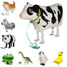 Animais andando balão da folha pet andando gato vaca sapo hélio balões festa de aniversário do chuveiro do bebê decorações de casamento crianças brinquedos