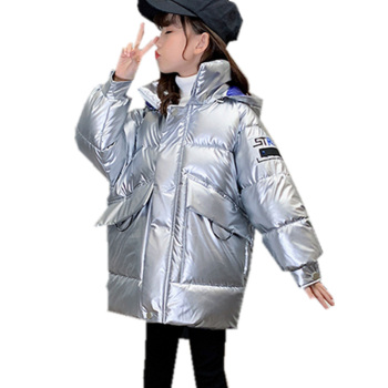 New Arrival Children's Silver Shiny Jacket For Girls Hooded Winter Kids Clothes Girl Warm Parka Coat Outerwear For 4 to 13 Years недорого