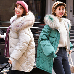 Warm Winter Jacket Women 2019 Fashion Hooded Fur Collar Down Cotton Coat Women Korean Solid Color Loose Large Size Female Coat 3