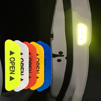 4Pcs Car Door Stickers Warning Mark Reflective Tape Auto Exterior Accessories OPEN Sign Safety Reflective Strip Light Reflectors image