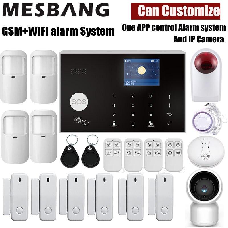 home wifi GSM alarm system wireless security alarm kits with pir sensors door detector and wifi IP camera tuya App control