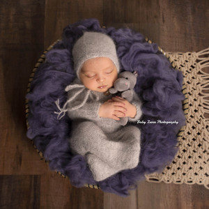 Image 5 - Newborn footed romper photography props,handmade mink yarn outfits bodysuit with bonnet baby photography props