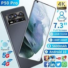 Mais novo p50 pro 7.3 Polegada smartphones hd versão global 5g do telefone móvel duplo sim sd face id andriod 10 núcleo 12g 512 gb 5600mah quente