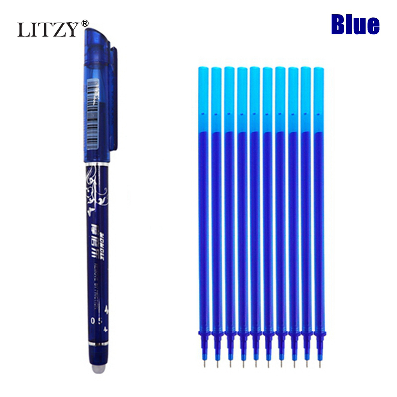 11Pcs/Set Office Erasable Refill Rod Magic Erasable Pen Refill 0.5mm Blue Black Ink School Stationery Writing Tool Gift
