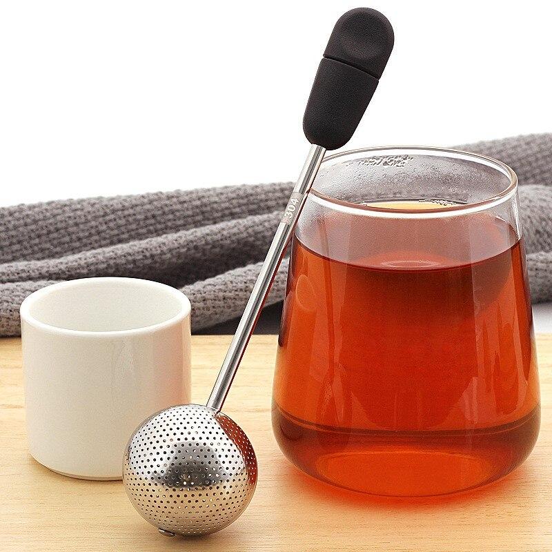Tea Infusers Good Sealing Soft Handle Multifunction Soup Pot Tea Spoon Rotatable Tea Strainer Tea Drain Filter Mesh For Kitchen