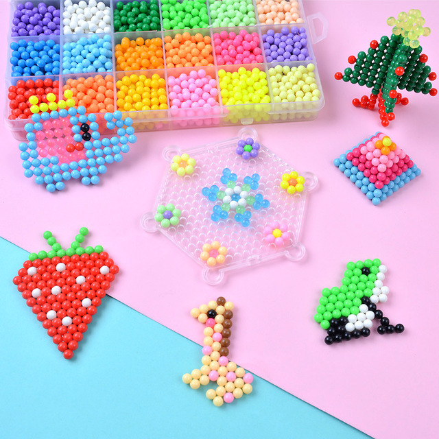 3000pcs 10 colors Beads Puzzle Crystal Color Aqua DIY Beads Water Spray Set Ball Games 3D Handmade Magic Toy for Children Gifts