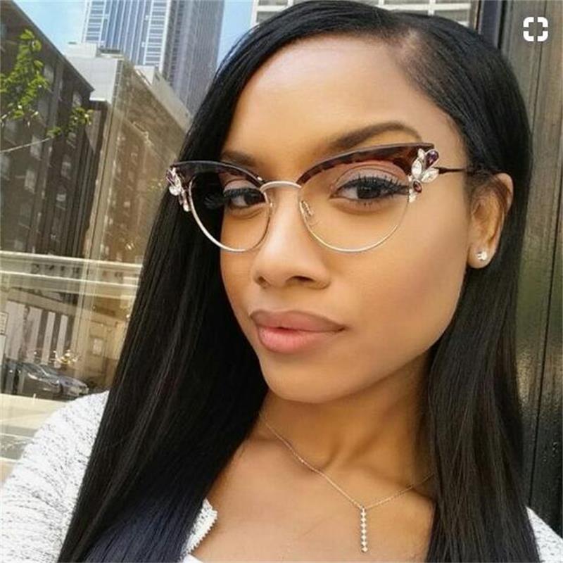 Gafas Retro, lentes de ojo de gato transparente con cristales de diamantes de imitación, montura de gafas de Ojos de gato a la moda para mujer, gafas para Miopía
