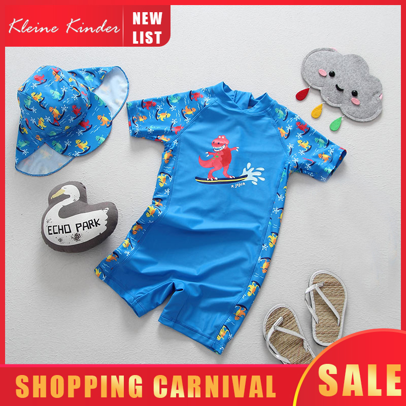 Boys Swimwear One Piece With Hat Children's Swimsuit Kids Boy Dinosaur Print UPF50 UV Sun Block Baby Bathing Suits Swimming Suit