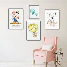 Unicorn Cartoon Canvas Painting Cute Bird Nordic Poster Elephant Hot Air Balloon Nursery Wall Pictures Baby Room Decor