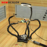 NEWACALOX Soldering Iron Holder 5PC Flexible Helping Hands 3X USB Magnifying Glass Table Lamp Soldering Station DIY Welding Tool