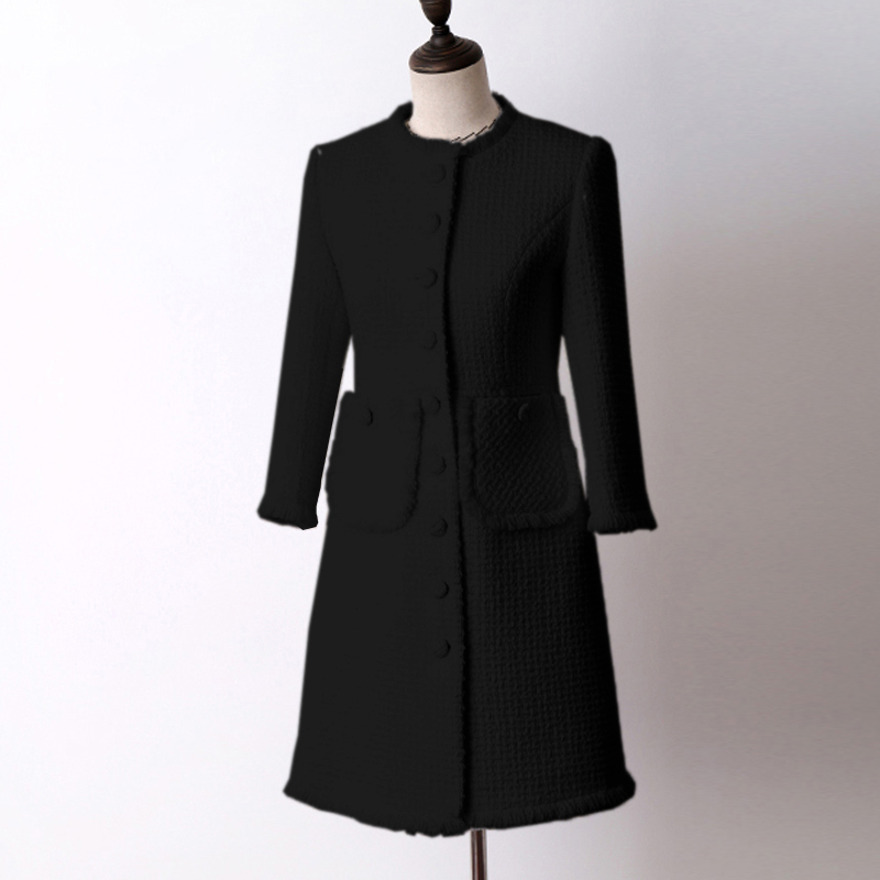 Black wool tweed jacket in the long section of autumn and winter Women's Coat new seven-point sleeve Slim ladies jacket coat
