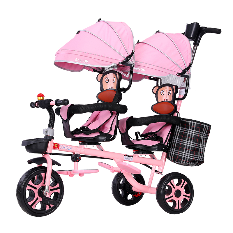 Twin Children's Tricycle Double Baby Bicycle 1-3-7 Years Old Baby Light Trolley Large Stroller