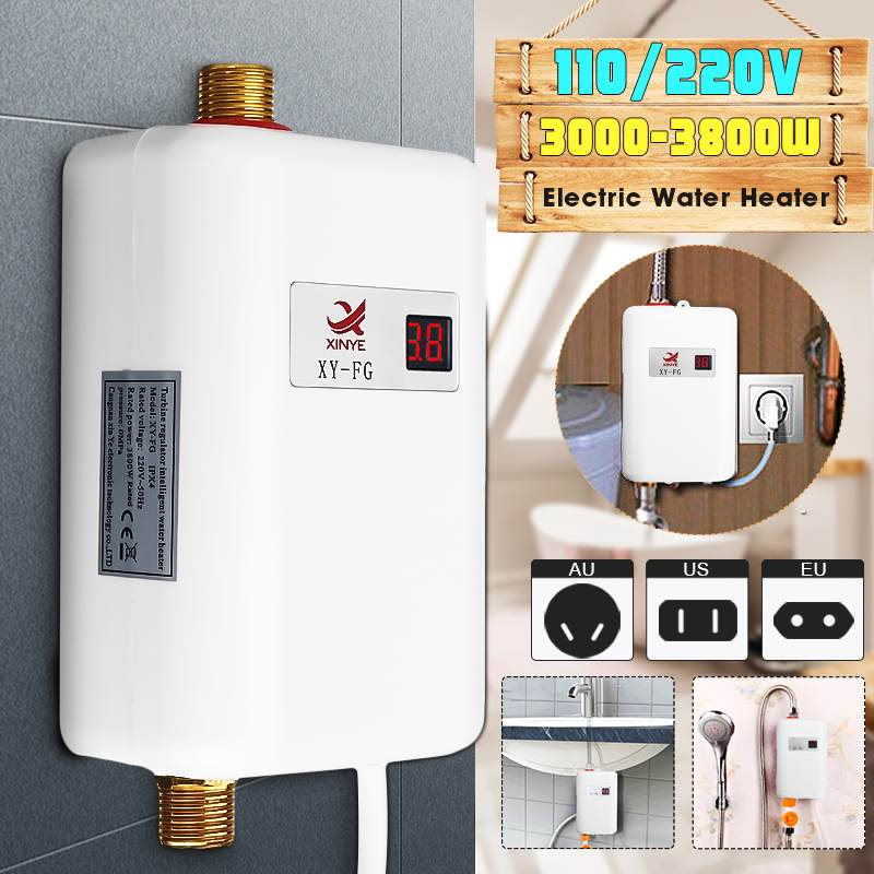 3800W Mini Tankless LCD Digital Water Heater Instant Waterproof Hot Faucet Kitchen Heating Thermostat  Intelligent Energy-save