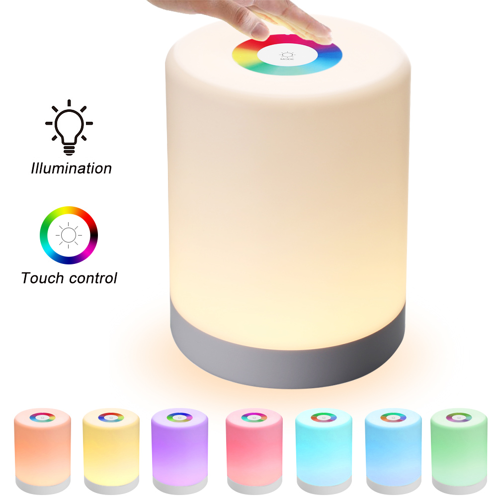 JUNEJOUR LED Touch Control Night Light Dimmer Lamp Smart Bedside Lamp Dimmable RGB Color Change Rechargeable Smart