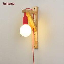 Prosta nowoczesna lampa ścienna osobowość twórcza solidna ściana z drewna oświetlenie do sypialni macaron kinkiet kinkiet balkonowy lampa studyjna|Wewnętrzne kinkiety LED|Lampy i oświetlenie -